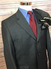 Lauren Ralph Lauren Charcoal Pinstripe 3 Button Wool Suit 40R 35x30 Pleated EUC!