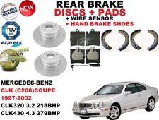 für Mercedes CLK C208 Coupe Bremsscheiben SET HINTEN+Bremsbelag Satz +Sensor+