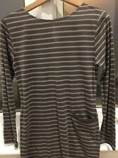Chinti and Parker Brown Striped Cotton Dress Long Sleeve Pocket New Without Tags