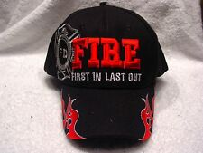 FIRE DEPARTMENT FIRST IN LAST OUT FIREFIGHTER FLAMES BASEBALL CAP HAT ( BLACK )