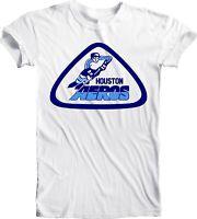 Men's HOUSTON AEROS DEFUNCT WHA HOCKEY NHL Tee T Shirt Handmade Team Sports