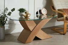 "MILANO Designer Oval ""X""  OAK Wood Veneer & Glass Coffee Table Modern"