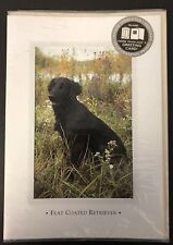 One Vintage Blank Flat Coated Retriever Greeting Card Collectible