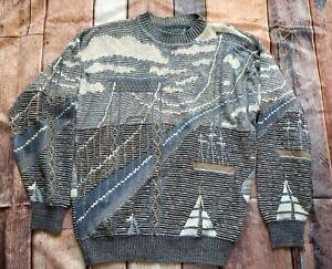 Vintage 90s Mens L Crossings GOLDEN GATE BRIDGE Boats Crewneck Sweater All Over