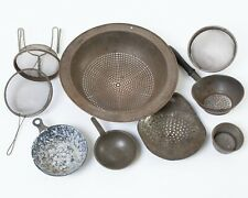 Lot of 9 Antique Tin Sifters Sieves Strainers Colanders & Scoops Kitchen Tools