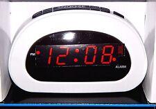 Mainstays LED Digital Alarm Clock Electric w/ Battery Backup Snooze Sleep White