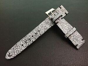 Crack Pattern, Black Leather Watch Strap, Black watch band, 20mm lug, Handmade
