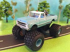 Indian Motorcycle, Baby Blue, Custom Lifted 1970 Chevrolet C-10, Mud Tires CB
