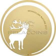 Mongolia 2017 500 Togrog Mongolian Nature Roaring Deer 1/2Oz Gilded Silver Coin