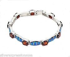 Garnet & Blue Fire Opal Inlay 925 Sterling Silver Link Tennis Bracelet 7.25''