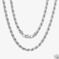 """Silver Italian Rhodium Rope Chain Necklaces Sterling Silver 925 Jewelry 18"""""""