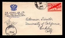 1944 US Navy Airmail Cover / Censored - L8534