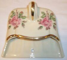 Vintage porcelain dust pan,  Crumb catcher,  Floral decorated silent butler