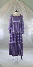 BaRgAiN BiN : VINTAGE 70s SUE BRETT purple print maxi dress peasant style XS-S