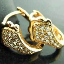 EARRINGS HOOPS HUGGIE REAL 18K YELLOW G/F GOLD DIAMOND SIMULATED ANTIQUE DESIGN