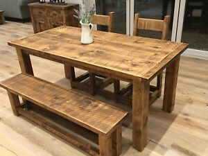 FARMHOUSE RUSTIC TABLE & BENCH SET - VARIOUS SIZES AVAILABLE - MADE TO MEASURE