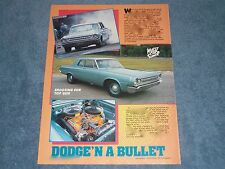 "1964 Dodge 330 Max Wedge Sedan Vintage Article ""Dodge'n A Bullet"" 426"