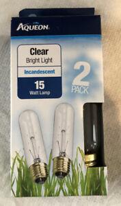 Clear Bright Light 15W Incandescent Lamp Aqueon -Box Of 2