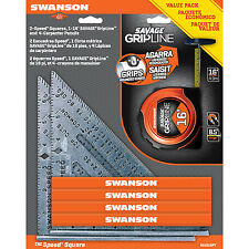 Swanson S010SPT 2-Speed Squares, 1-16' Salvage GripLine, 4 Carpenter Pencils
