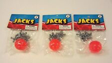 3 SETS OF METAL STEEL JACKS WITH SUPER RED RUBBER BALL GAME CLASSIC TOY KIDS