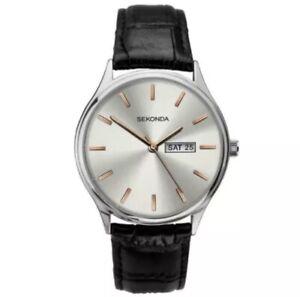 SEKONDA 1686 Gents Analogue Day/Date Silver Dial Black Strap Watch RRP £49.99
