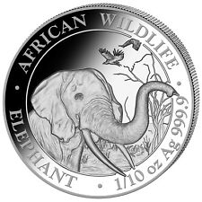 10 Schilling Somalia Silber African Wildlife Elefant / Elephant 1/10 OZ 2018