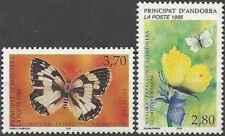 Timbres Papillons Andorre poste française 462/3 ** (32254E)