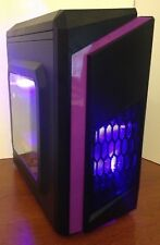 Purple Gaming PC Desktop Computer Quad Core 3.7 GHz 500GB 8GB RAM WIN 10 WIFI