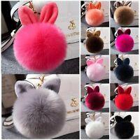 Rabbit Fur Ball PomPom Cell Phone Car Keychain Pendant Handbag Cute Key Ring LRA