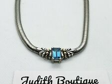 Lagos Caviar 18K  925 Sterling Silver  Omega Necklace  Blue Topaz Pendant .