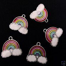 5 x plaqué argent arc en ciel nuage émail Charms Pendants