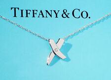 Tiffany & Co Paloma Picasso Sterling Silver Diamond Kiss Pendant Necklace