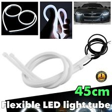 45cm White Universal Rubber LED Flexible DRL Daytime Bumper Glow Fog Light BA