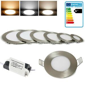Panneau LED Spot Encastré Slim Plafonnier Lumière Intensité Variable Argent