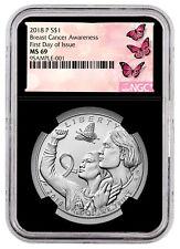 2018-P Breast Cancer Awareness Silver Dollar Coin NGC MS69 FDI Black SKU53340