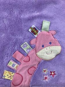 Taggies Pink Purple Giraffe Baby Blanket Soft Flowers Tags Security Lovey