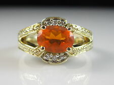14K Mexican Fire Opal Diamond Ring Yellow Gold Fine Jewelry Orange Size 7.75