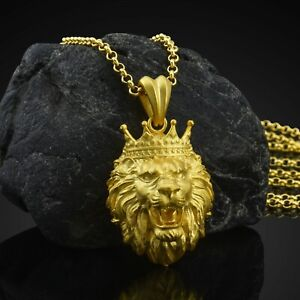14K Solid Gold Lion Head Necklace Mens African Lion King Gift Pendant With Chain