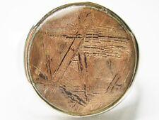 sz6.75  15MM ROSE GIBEON METEORITE STAR OF DAVID 925 STERLING SILVER RING