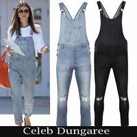 Women's Ladies Denim Dungarees Slim Fit Ripped Light & Black Wash Jeans Jumpsuit