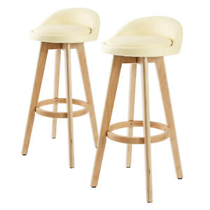 2 x Oak Wood Bar Stool Wooden Barstool Dining Chair Kitchen Leather LEILA CREAM