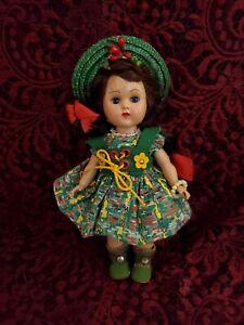 Vintage Vogue Ginny Hard Plastic Walker Doll Wearing Tagged Green Dress Cute