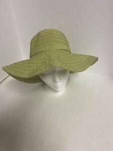 Scala Collezione Handcrafted Floppy Sun Hat Beach Garden Khaki Lime One Size