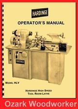 HARDINGE Old HLV High Speed Tool Room Lathe Operator's Manual '54 1124