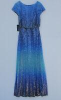 NWT TADASHI SHOJI Walker in Aqua Ombre Sequin Blouson Gown Dress XS