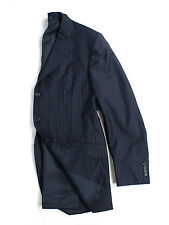 DUNHILL Super 120's Canvassed Wool Navy Striped Blazer, US 44 R/EU 54 R