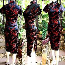 Asia China/Japan Qipao/Geisha-Kleid/Kostüm Cheongsam Schwarz/Rot 34,36,38,40,42