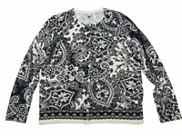 NWOT Croft & Barrow Paisley Floral Cardigan Sweater Button PXL Black Gray Cream