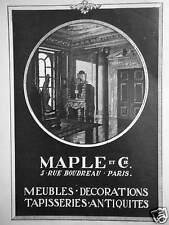 PUBLICITÉ 1922 MAPLE ET Cie MEUBLES DÉCORATIONS TAPISSERIES  - ADVERTISING