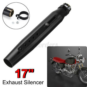 """17"""" Motorcycle Tapered Exhaust Pipe Muffler Silencer Chopper Cafe Racer"""